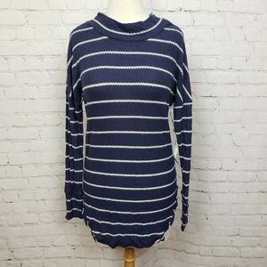 Caslon High Low Striped Thermal Knit Tunic Sweater